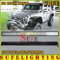 "Free DHL Shipping 50"" 288W CREE LED Work Light Bar OffRoad SUV ATV 4WD 12V 24V COMBO Military Equipment LED Headlight 240W/300W"