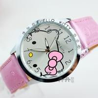 4CM Big Size Pink Kids Cartoon Hello Kitty Quartz Watch Leather Crystals Wrist watch Children Gift Item Reloj Free Shipping N007