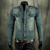 spring 2014 plus size men's clothing denim jacket stand collar denim outerwear brand Jean jacket mens vintage jackets and coats