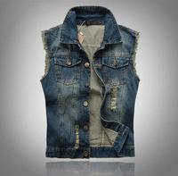 2014 spring -summer plus size men's clothing hole short cardigan denim vest retro sleeveless jackets men brand a waistcoat M-5XL
