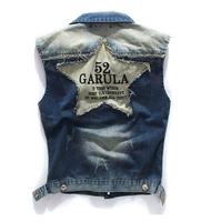 New 2014 spring fashion men's clothing plus size denim vest for men brand a waistcoat sleeveless patchwork jacket coat M-3XL