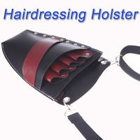 New Arrival!! Leather Barber Scissor Bag Salon Hairdressing Holster Pouch Rivet Clips Holder Case with Waist Shoulder Belt