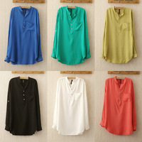 1139 Spring and Summer New 2014 Chic blusas Sexy Stand Collar blouses Women Loose Chiffon Top Tee Shirt 6 colors