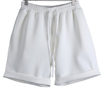 2014 Men's Quality Elastic Waist Summer Loose Casual White Shorts, Euro American Runway Fashion Space Cotton Fifth Shorts