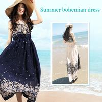 11.11 Sales-New 2014 Fashion Women Summer Dress Chiffon Retro Long Maxi Dress Bohemia Shivering Beach Long Dress Free Shipping