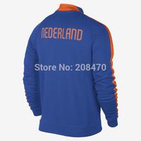 14 15 Netherlands Blue football jacket for men thai quality long sleeve soccer coat Holland winter outer jacket sports tracksuit