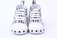 Freeshipping Baby Boy Shoes Spring New Plaid Canvas Baby First Walkers Shoes New Born Bebe Prewalker