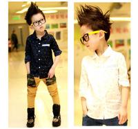 New Korean Spring Boys Tops Fashion Children Boy Shirts 2 Colors Dots Long SleevesBlouse Freeshipping