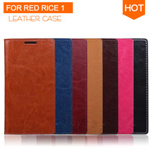 Simple Flip Case for Xiaomi Hongmi Red Rice Original High Quality PU Leather + PC Case MIUI Millet phone Cover Protective Shell
