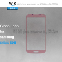 High quality  lcd touch screen digitizer front glass lens pink colour  for samsung S4 i9500  free shipping