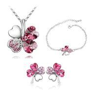 Rose Gold and Platinum Plated Four Leaf Clover Necklace Fashion Jewelry sets Crystal joyas de perola bijuterias bijoux collar