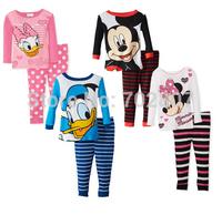 2014 Retail free shipping Long Sleeve Pajamas Kids Baby Clothing Sets Boys Girls pijama Minnie Mickey Princess Design Sleepwear