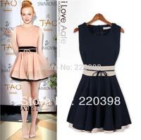 2014 New Women Summer Dress Cute Sleeveless O-neck Patchwork Ball Gown Chiffon Tank Dress Casual Lady Sexy  Party Dresse3012