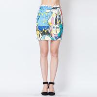 YIGELILA 5172 Latest  Vintage Head Image Print Series Fashion Mini Skirts 2014 New Free Shipping