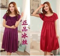 Free Shipping Women's Viscose sleepwear  female nightgown plus size short-sleeve viscose sleepwear lounge homewear set