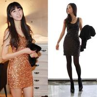 New 2014  hot-selling handmade paillette deep v neck slim hip slim formal dress tank dress  wholesale