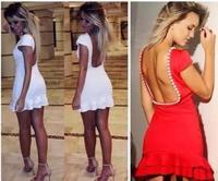 Women Novelty Bandage Casual Dress Sexy Backless Dress  Fashion New 2014 Women Clubwear & Nightclub Lady Party Bodycon Dress Y90