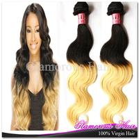 Free Shipping 3 Bundles/Lot Cheap Human Hair Brazilian Virgin Hair Body Wave 1B 613 Ombre Hair Weave Bundles