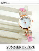 Sweet Girls Hello Kitty Quartz Watches lady Rhinestone Dress Wrist Watch Leather Strap,Simple Fashion Gift Reloj Free Ship N014