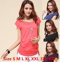 New 2014 summer plus size women t-shirt fashion leisure tops for women slim short-sleeve t shirt  size S-XL XXL XXXL XXXXL