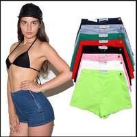 2014 New  Sexy Slim Zipper Side  High Waist  Denim Tap Shorts /Hot Pant 5 Color 4 size