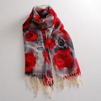 Fashion  fashion pure  red print big flower decoration thermal female silk  muffler cape wool scarf
