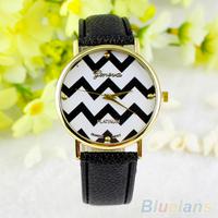 Unisex Men Woman Fashion Vintage wave Casual Stripes Faux Leather Analog Quartz Wrist Watch 04O9