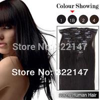 "20"" 26"" 160g  Color  #1B Natural  Black Virgin Remy Brazilian Hair Clip In Human Hair Extensions Straight 10Pcs/Full Head Set"