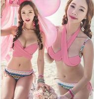 new 2014 Dropship Retro cute pink bandage swimsuit swimwear women floral print bikini set girl's bathing suits monokini push up