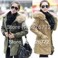New 2014 Winter Thickening Long Slim Female Coat Jacket Clothes  Women's  Fleece Fur Collar Overcoat black/Beige wholesale