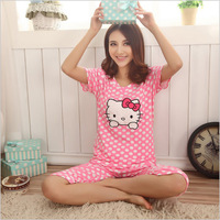 Summer 2014 Women's Cotton Pajamas Sets Ladies Hello Kitty  Nightgown Cartoon for Home Wear Plus Size Sleepwear