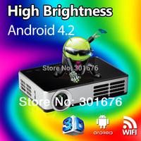 New model DLP600W  Mini DLP commercial 3D Projector support HDMI VGA AV USB SD LED Projectors built-in Android 4.2.2