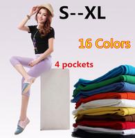 S/M/L/XL 16 Colors Free shipping New Women Summer Candy Color Skinny Pants Plus Size Four Pockets Pencil Pants Trousers Capris