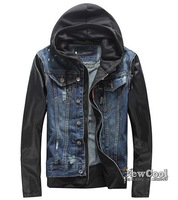 DM093  2014   fashion jackets men famous brand D2  jeans jacket leather sleeves mens hooded denim coat