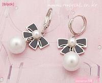 P 0399 Free Shipping minimum order$10(mixed items) Super Hot cute bow pearl earrings  Korean fashion earrings