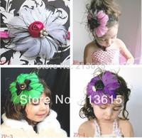 Free shipping 1pcs Beautiful Feather Headband / Baby Girls flowers headbands / kids' hair accessories Baby Christmas gift  YML1