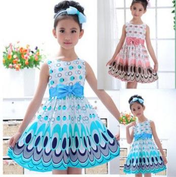 2015 дети девушки мило павлина цвет рукавов платье принцессы круг дети свадебные платья
