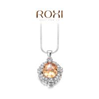ROXI heart Gift swiss CZ Platinum plating luxury champagne eye necklace pendant arrow heart cuting Full set jewelry