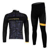 LiveStrong Spring Mountain Bike Sportswear Bicycle MTB Breathable Clothing Set Long Sleeve Cycling Bib Pants Cycling Jersey Men