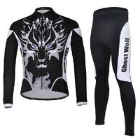 Mountain Bike Ghost Wolf Sportswear Bicycle MTB Breathable Clothing Set Long Sleeve Cycling Bib Pants Cycling Jersey Men 2014