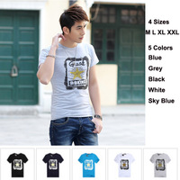 New 2014 Summer Fashion Short Sleeve Slim Fit Men T Shirt Print Casual Tee Shirts Tops Blouse Camiseta Masculinas