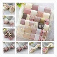 Sweet pink ribbon set diy hair accessory material diy lace and diy ribbon mix sales for handmade diy