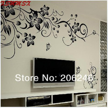 Hot Sale 2014 Wall Decal DIY Decoration Fashion Romantic Flower Wall Sticker /Home Sticker Manufacture Free Shipping(China (Mainland))