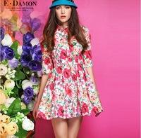 2014 Spring New Women's Slim Flowery Printing Dress Size M L Half Sleeved Women Clothing Cute&Vintage