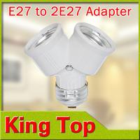 Foxanon Brand E27 to 2xE27 1 to 2 Y Shape LED Halogen CFL Bulb Base Light Lamp Splitter Split Adapter Converter Socket Extend