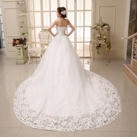 2015 New 100% Actual Images Floor-Length Strapless Crystal Backless Lace Princess Wedding Dress Bridal Gown Free Shipping WD019
