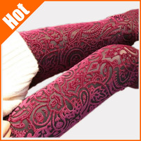 Retail ! new 2014 slim ankle length leggings new arrival fashion print lace cutout gold velvet legging
