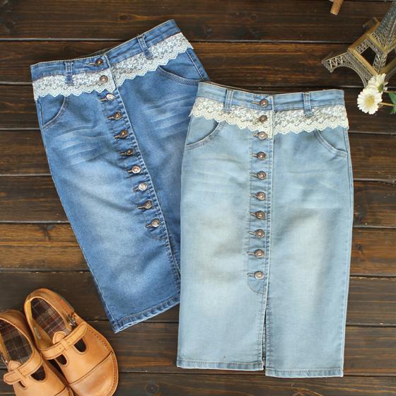 Юбка джинсовая с кружевом