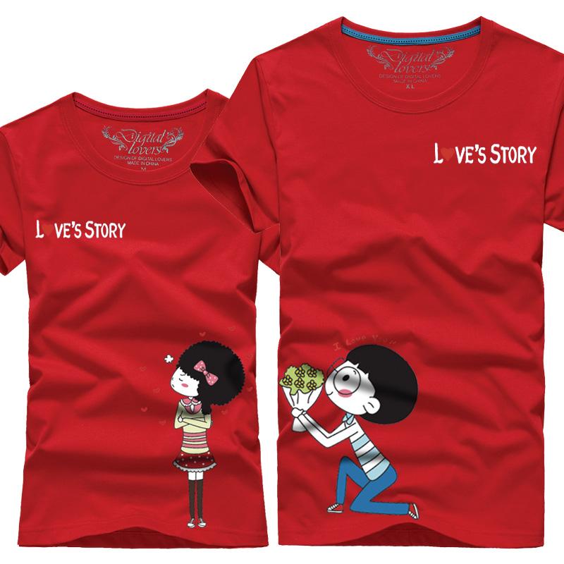 Free Shipping 2015 Summer love style lovers theme basic print t-shirt short-sleeve o-neck fashion shirt Couple clothes(China (Mainland))