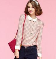 new women chiffon shirt blouses lady plaid printed fashion peter pan collar basic shirt long- sleeve Women's Blouses